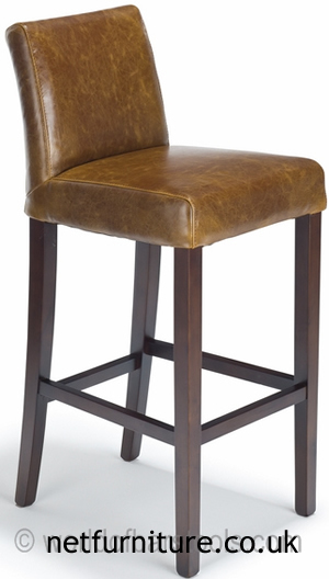 Florence Tan Aniline Leather Kitchen Breakfast Bar Stool Walnut Frame Legs Fully Assembled