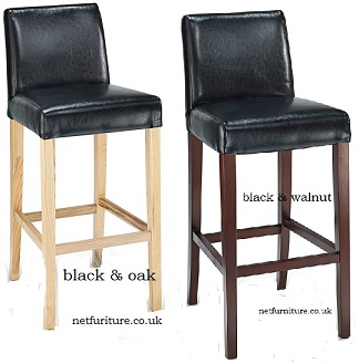 Rose Black Bonded Leather Wooden Kitchen Breakfast Bar Stool Fully Assembled