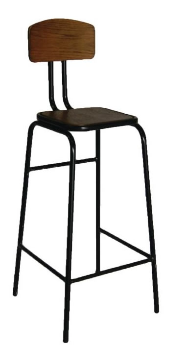 Ralerio Wood and Metal High Kitchen Breakfast Bar Stool With Back Fully Assembled Industrial aged urban look style