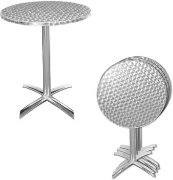 Stainless steel round top folded bistro table