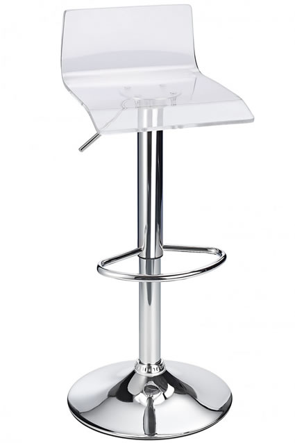 Langsley Funky Acrylic Adjustable Bar Stool - Clear