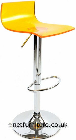 Langsley Funky Acrylic Adjustable Bar Stool - Orange