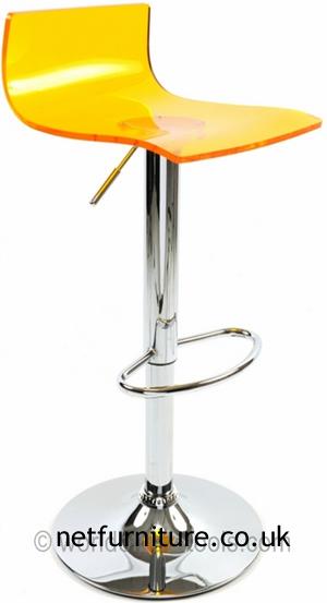 Langsley Funky Acrylic Adjustable Bar Stool - Orange