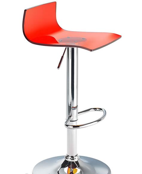 Langsley Funky Acrylic Adjustable Bar Stool - Red