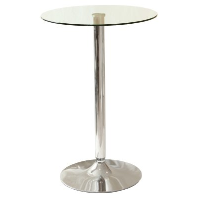 tonkey tall poseur round glass kitchen table chrome frame