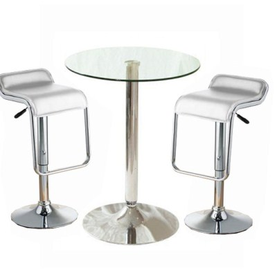 Tonkey Tall Glass Kitchen Bar Bistro Table with 2 Stools