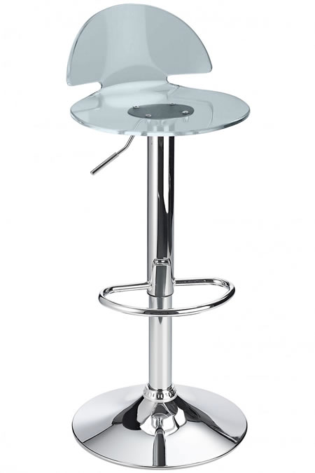 Grayson Smoked Transparent Breakfast Kitchen Bar Stool Perspex Seat