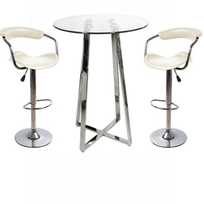 Nerix Glass Top Poseur Table and 2 Cont Padded Stools