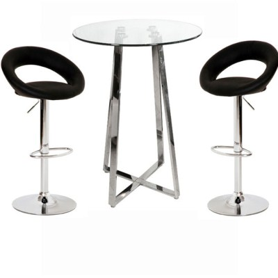 Nerix Glass Top Poseur Table and 2 Leo Padded Stools
