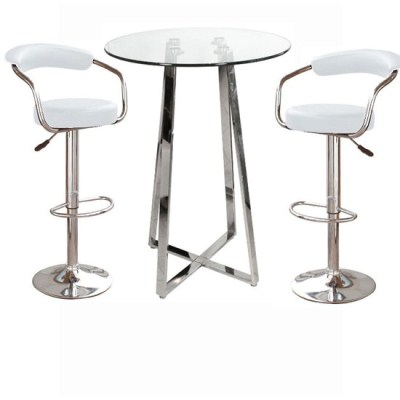 Nerix Glass Top Poseur Table and 2 Zen Padded Stools