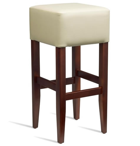 Emerald Kitchen Bar Stool - Dark Walnut Frame with Padded Seat - Cream - Fully Assembled