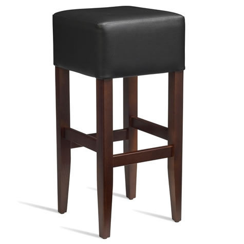 Emerald Kitchen Bar Stool - Dark Walnut Frame with Padded Seat - Black - Fully Assembled