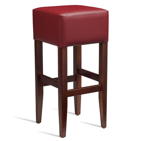 Emerald Kitchen Bar Stool - Dark Walnut Frame with Padded Seat - Red - Fully Assembled