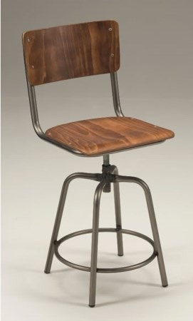 Taymon Satin Wood Swivel Stool - Back
