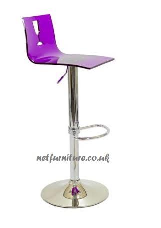 Amelia Bar Stool - Acrylic Coloured - Swivel Adjustable - Backrest
