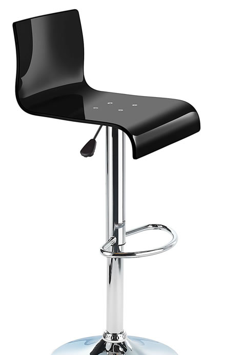 Snazzy Acrylic Adjustable Kitchen Bar Stool with Swivel Seat - Black
