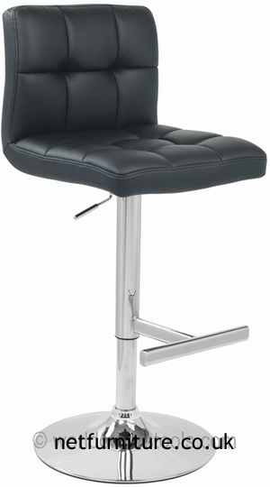 Grand Black Padded Seat And Back Kitchen Bar Stool Height Adjustable Chrome Frame