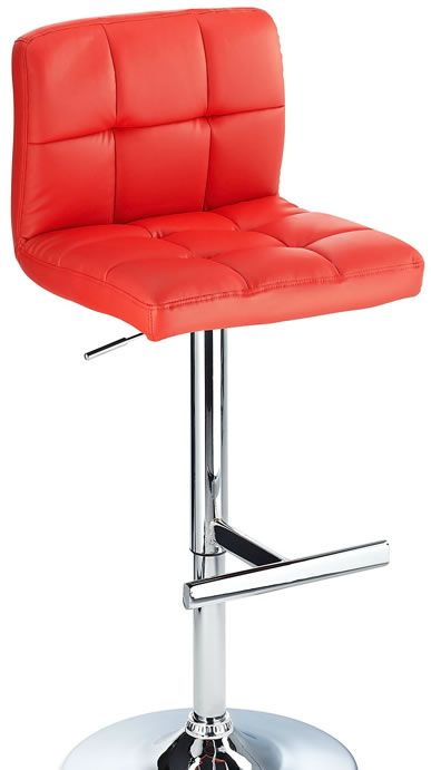 Grand Red Padded Kitchen Breakfast Bar Stool Height Adjustable Choice of Colours