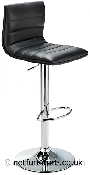 Horizon Padded Bar Stool Height Adjustable - Black