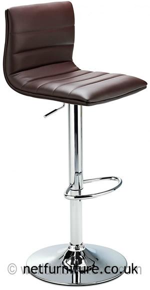Horizon Padded Bar Stool Height Adjustable - Brown
