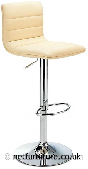 Horizon Padded Bar Stool Height Adjustable - Cream Seat and Back