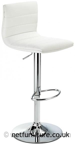 Horizon Padded Bar Stool Height Adjustable - White Padded Seat and Back