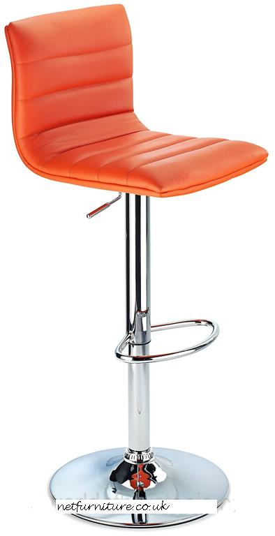 Horizon Padded Bar Stool Height Adjustable Orange
