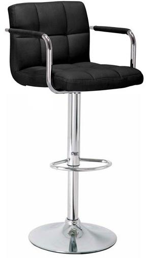 Havenly Kitchen Breakfast Bar Stool With Arms Black Padded Seat