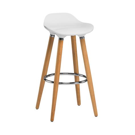 Blasene White Modern Kitchen Bar Stool Height Fixed Height Beech Legs