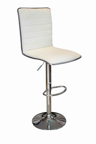 Top Line Bar Stool Cream Padded Seat and Back Height Adjustable