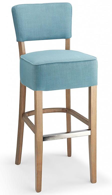 Goposti teal blue fabric seat kitchen breakfast bar stool wooden frame fully assembled