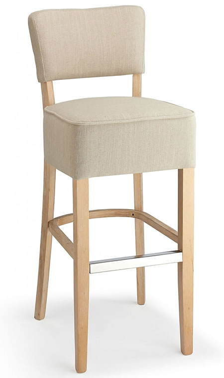 Goposti cream fabric seat kitchen breakfast bar stool wooden frame fully assembled