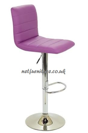 Hal Kitchen PaddedBar Stool - Chrome and Coloured Leather - Swivel and Adjustable