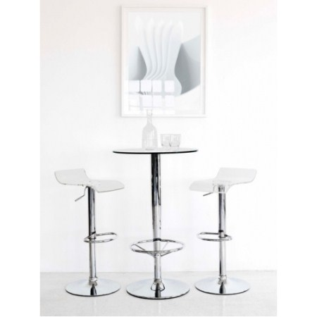 Haxa Chrome and Glass Bar Table with 2 Stools