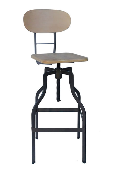 Zapopi Vintage Industrial Style Retro Kitchen Breakfast Bar Stool Height Adjustable With Back Fully Assembled