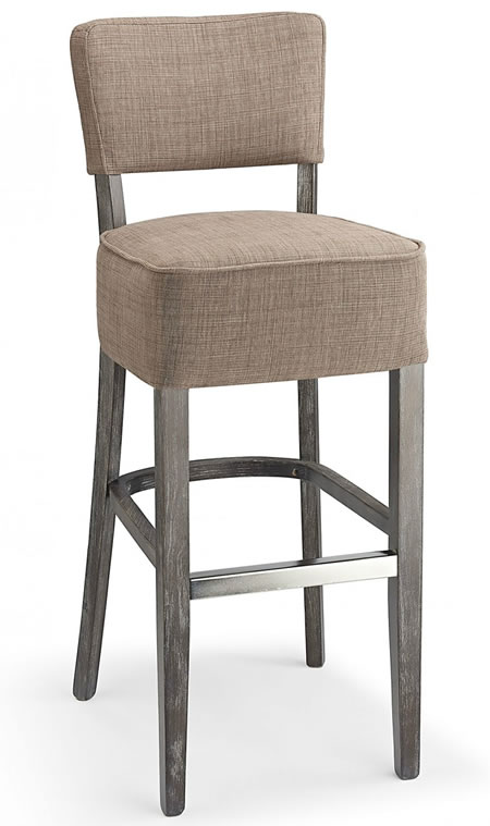 Goposti brown fabric seat kitchen breakfast bar stool wooden frame fully assembled