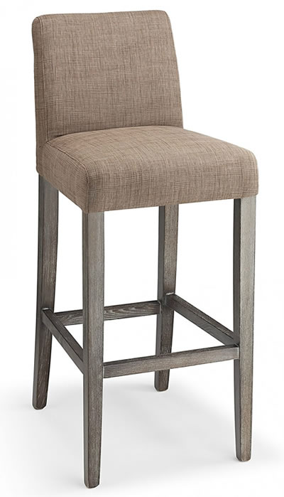 Farzom brown fabric seat kitchen breakfast bar stool wooden frame fully assembled