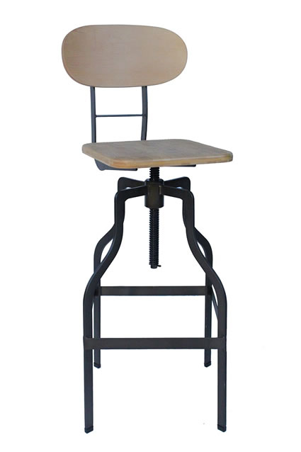 Bolzing Kitchen Bar Stool Retro Vintage Industrial Stool Natural Wood Seat