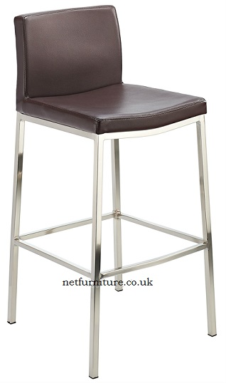 Banff Fixed Height Bar Stool with Brushed Steel Frame