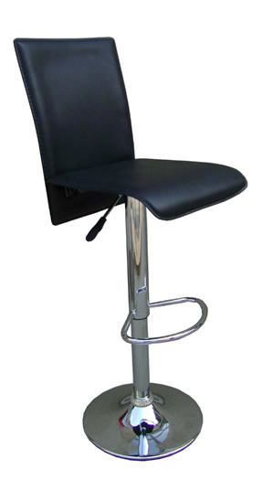 moston kitchen bar stool full back black padded adjustable chrome bar stool 1110