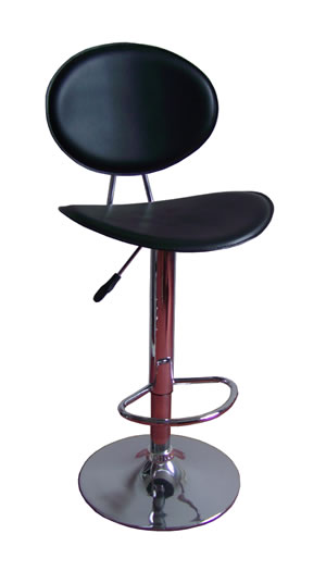 retro kitchen bar breakfast stool circular black padded seat and rest chrome height adjustable