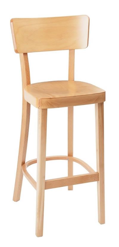 Fagone natural beech kitchen breakfast bar stool fully assembled solid wood hand crafted with back
