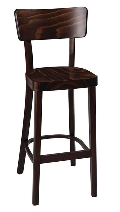 Pagone walnut kitchen breakfast bar stool fully assembled solid wood hand crafted with back