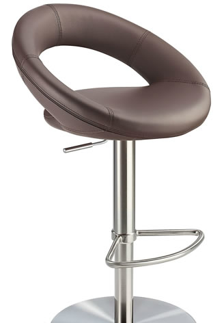 Sorompo real leather kitchen breakfast bar stool brown seat brushed stainless steel frame