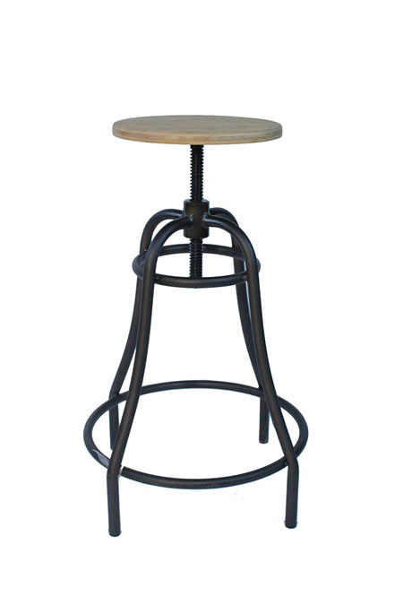 Temzine Kitchen Bar Stool Retro Vintage Rustic Industrial Stool Natural Seat