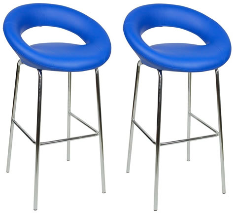 Pair Soronson Chrome and Padded Kitchen Breakfast Bar Stools Fixed Height Various Colours 4 Leg Frame