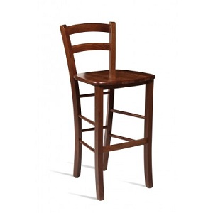 Pichetto Solid Beech Fixed Height Bar Stool with Rich Wenge  Colour Fully Assembled
