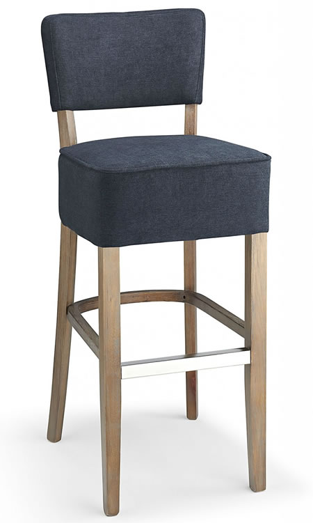 Goposti navy fabric seat kitchen breakfast bar stool wooden frame fully assembled
