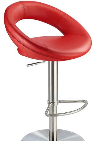 Sorompo real leather kitchen breakfast bar stool red seat brushed stainless steel frame