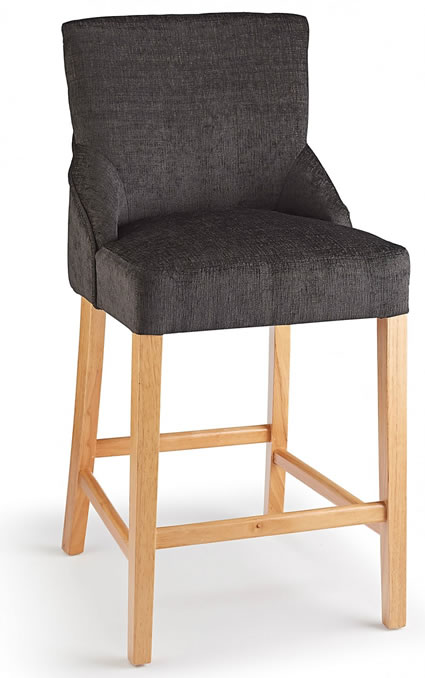 Naponese Oak Wood Stylish Kitchen Breakfast Bar Stool Charcoal Fabric Padded Seat Fully Assembled